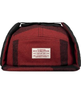 HUF Red Buffalo Plaid Dog Ear Volley Cap Picture