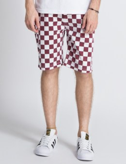FUCT SSDD White/Burgundy Checker Flag Shorts Picture