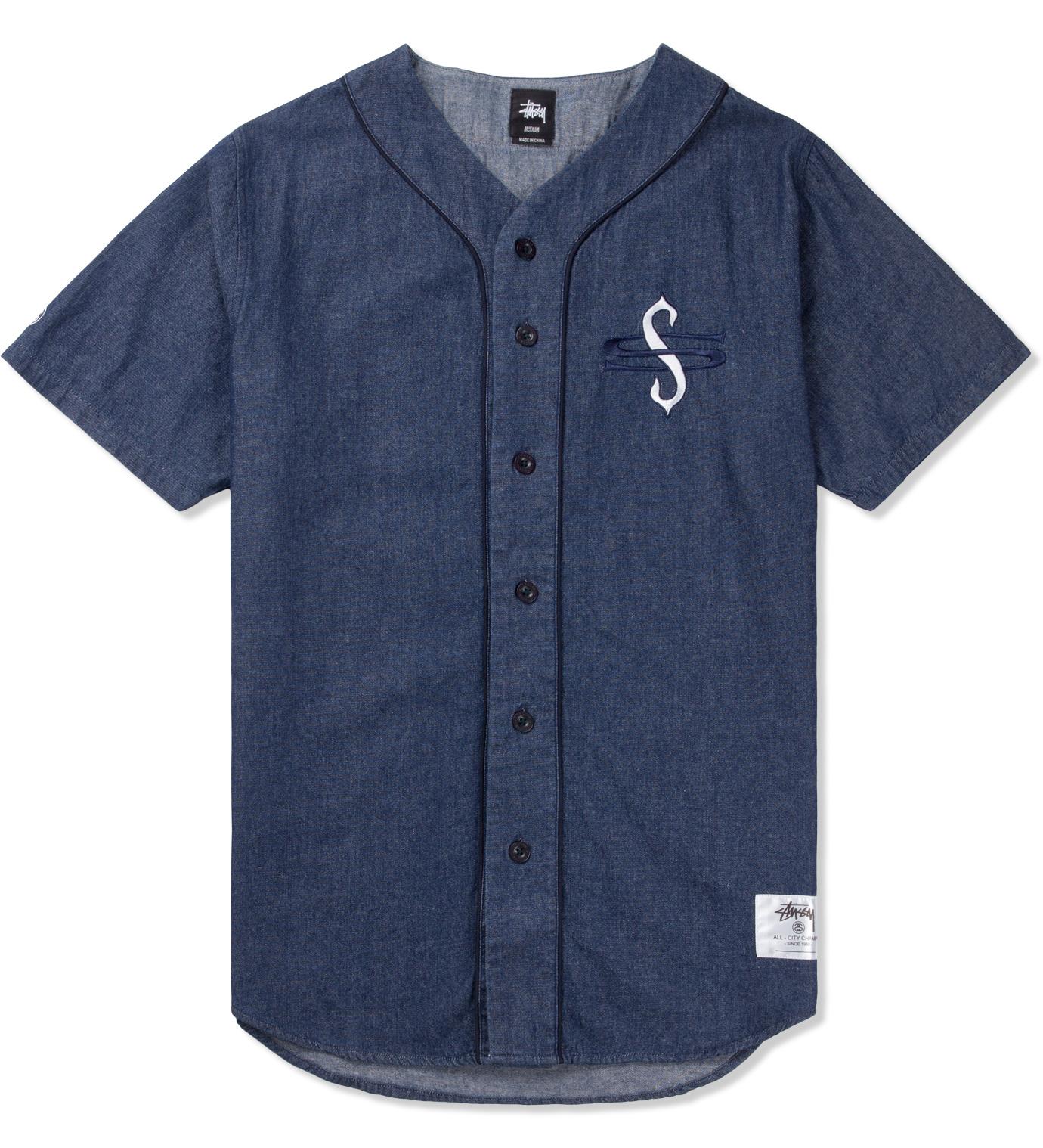 Stussy Light Blue Denim Baseball Shirt Hbx