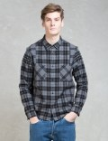 WHIZ Black L/S Check Patch Shirt Picture