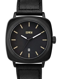 EDWIN Watch Black Dail With Black Leather Band Julius Picture