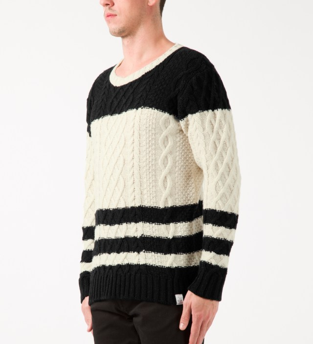 MAGIC STICK Black/White 2-tone Cable Hockey Knit Sweater ...