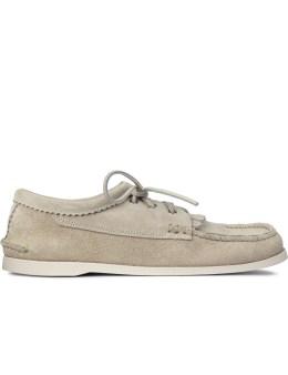 Yuketen Sand Suede Blucher Shoes With Kiltie Picture