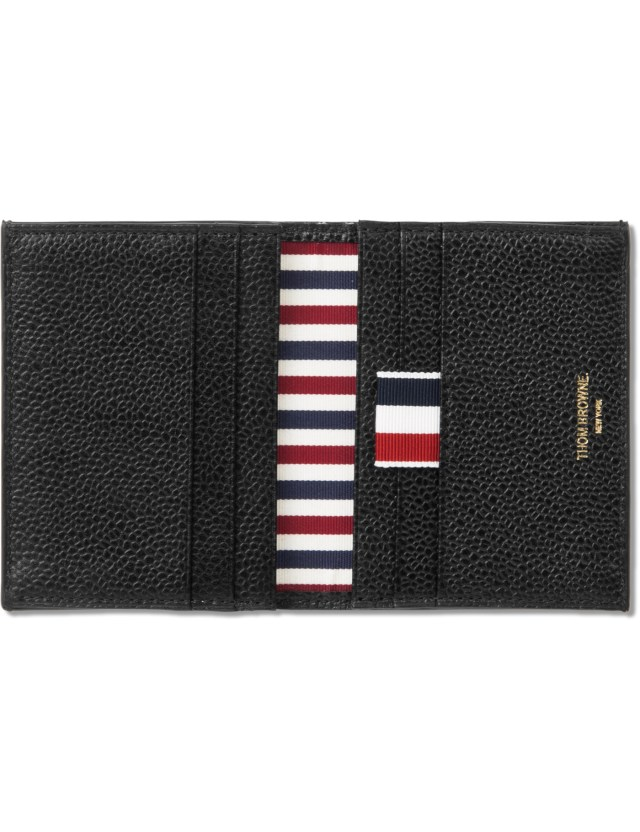 Thom browne black pebble grain leather double card holder