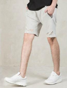 MAGIC STICK Grey Damaged Chillin Sweat Shorts Picture