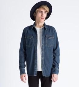 Nudie Jeans Washed Indigo Gunnar Organic Fine Slubs Denim Shirt Picture