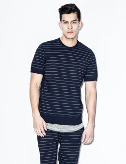 REIGNING CHAMP Indigo Striped RC-3283 Terry S/S Crewneck Sweater Picture