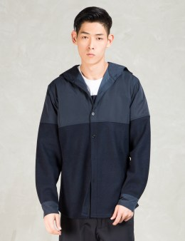 Still Good Navy Wool  Nylon Hooded Shirt Jacket Picture