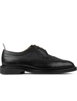 THOM BROWNE Black Fun Mixed Leather Classic Longwing Shoes With Rubber Sole Picutre