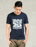 Man of Moods Navy Daisy Box S/S T-Shirt Picture