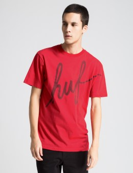 HUF Red Big Script Reflective T-Shirt Picture