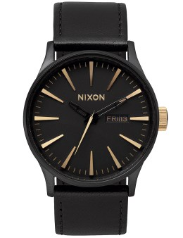 Nixon Sentry Leather with Gold Sunray Dial Picture