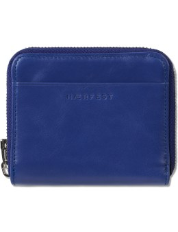 HAERFEST Blue Leather Zip Wallet Picture