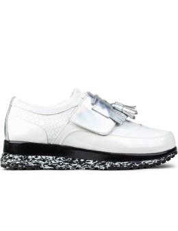 Six Lee x Aqua Two White Taseel Platform Sneakers Picture