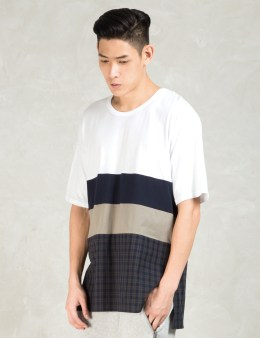 Shades of Grey by Micah Cohen White Multi Fabric Colorblock T-Shirt Picture