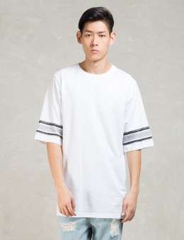STAMPD White S/S 3scallop T W/mayan Print T-Shirt Picture