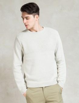 SATURDAYS NYC White Everyday Mesh Block Sweater Picture