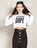 Stussy White Certified Dope Cropped Crew Sweater Picture