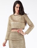 JADED LONDON Gold Quilted Long Sleeve Crop Top Picture