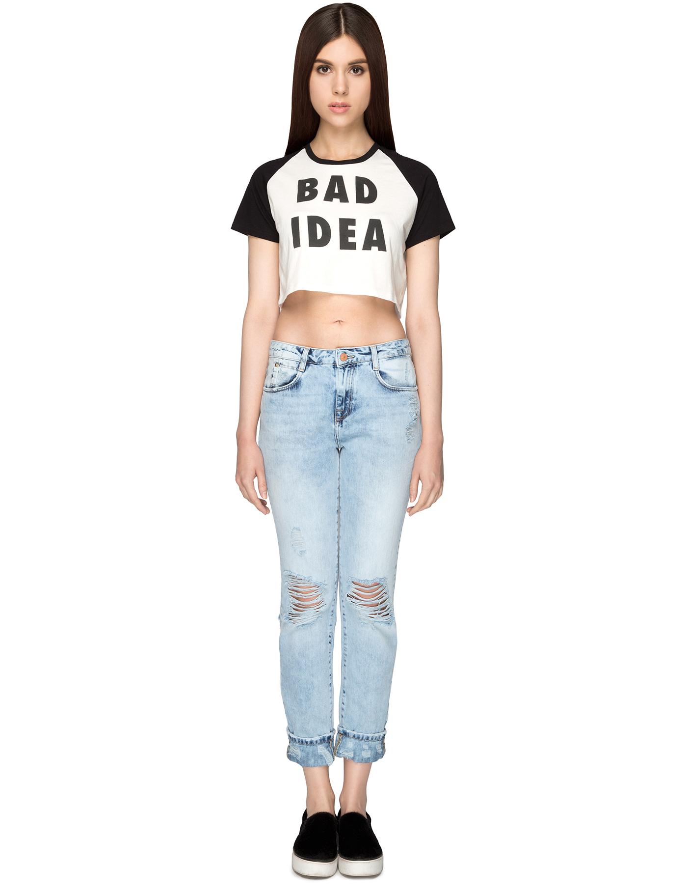 Lazy oaf black white bad idea crop t shirt hbx for Bad idee