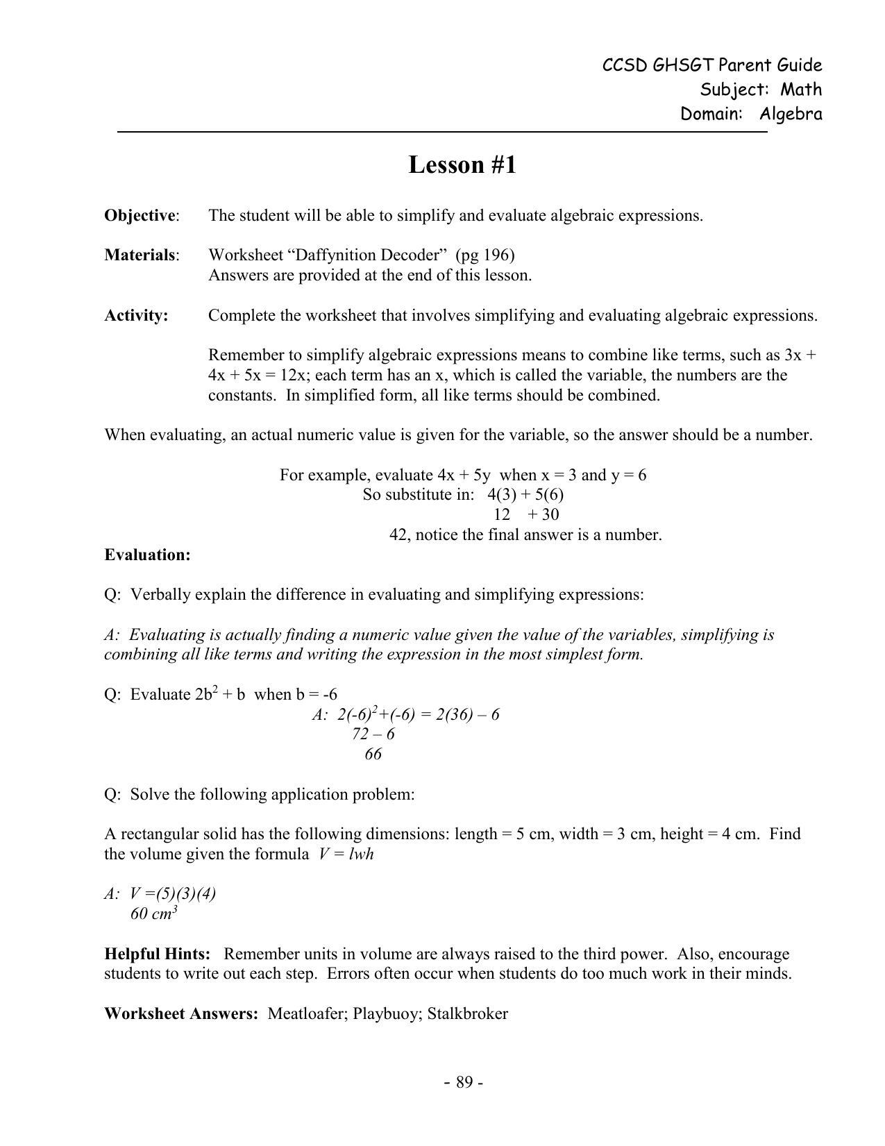 Worksheet Simplifying And Evaluating Expressions