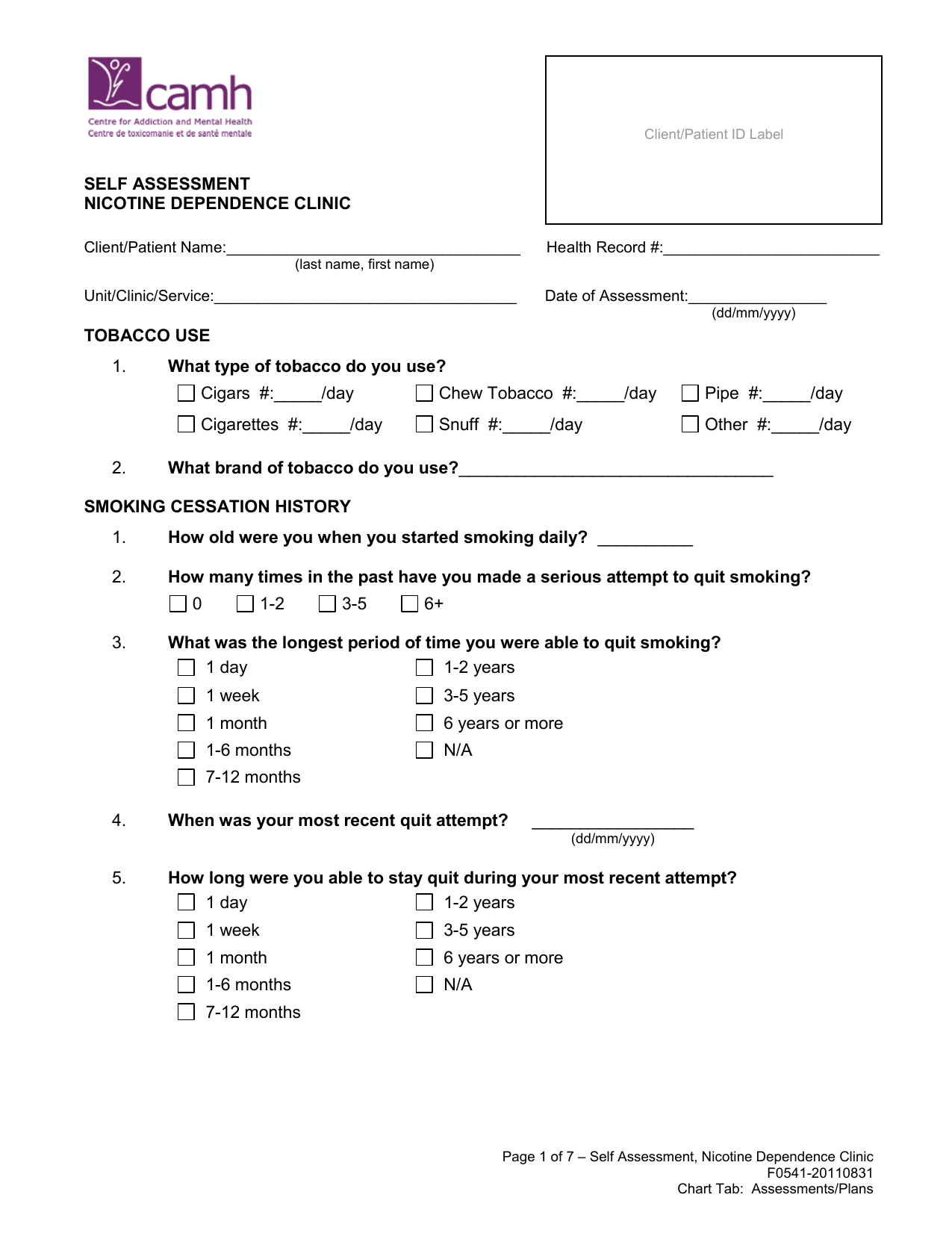 Assessment Form Nicotine Dependence Clinic