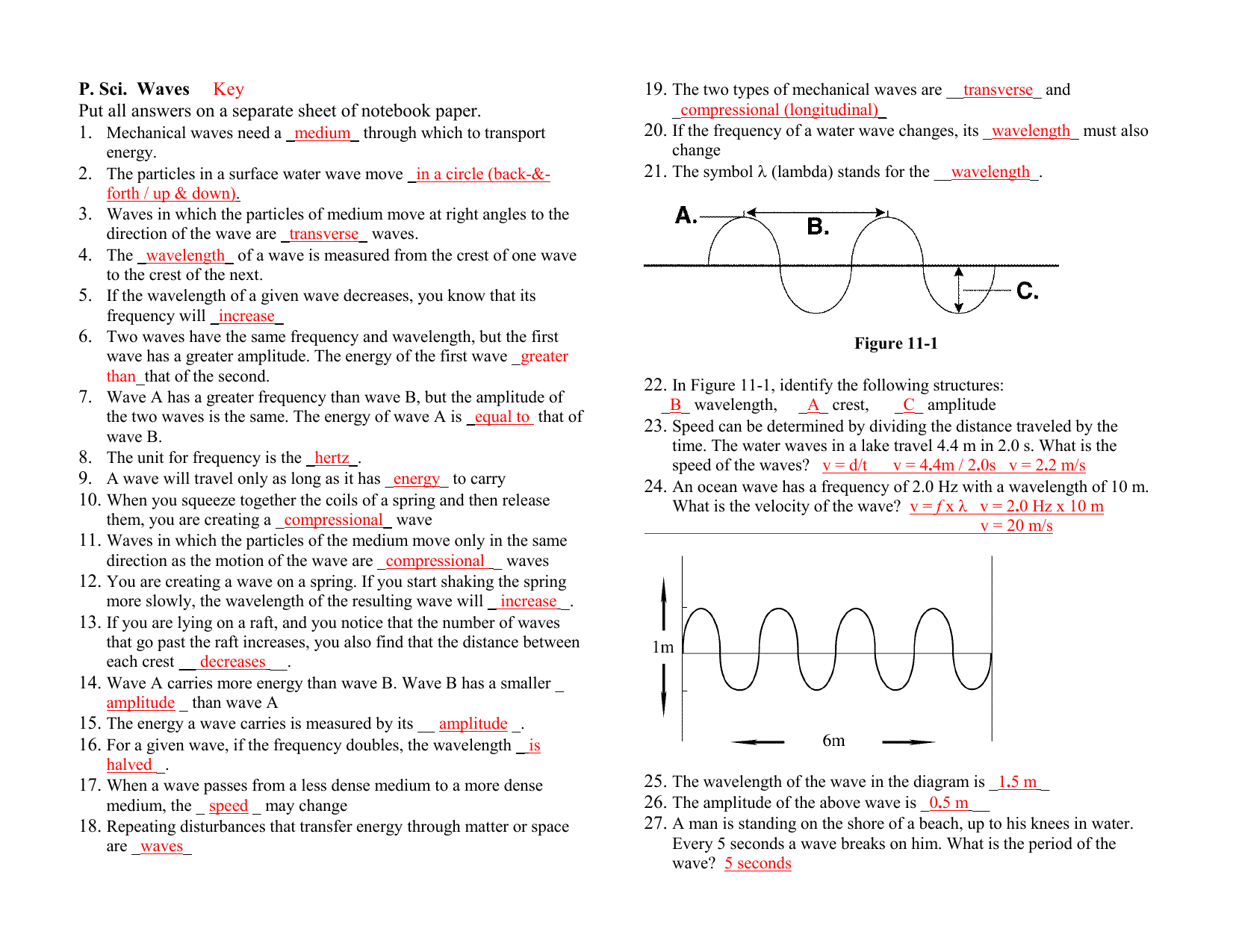 Waves Study Guide Key