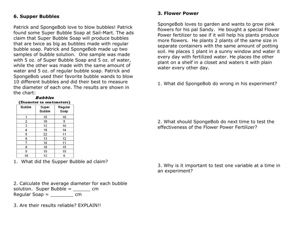 Spongebob Worksheet For Biology