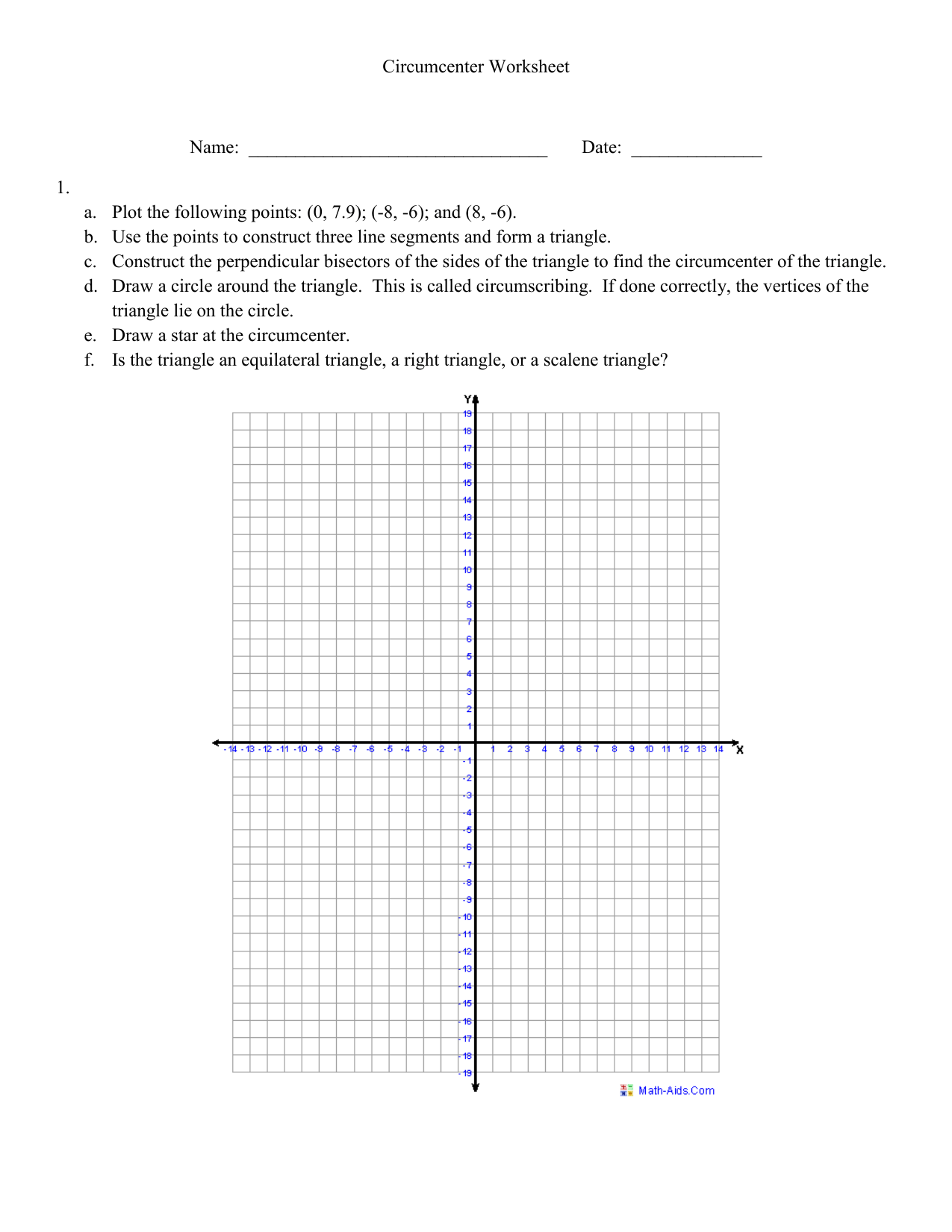 Circumcenter Worksheet