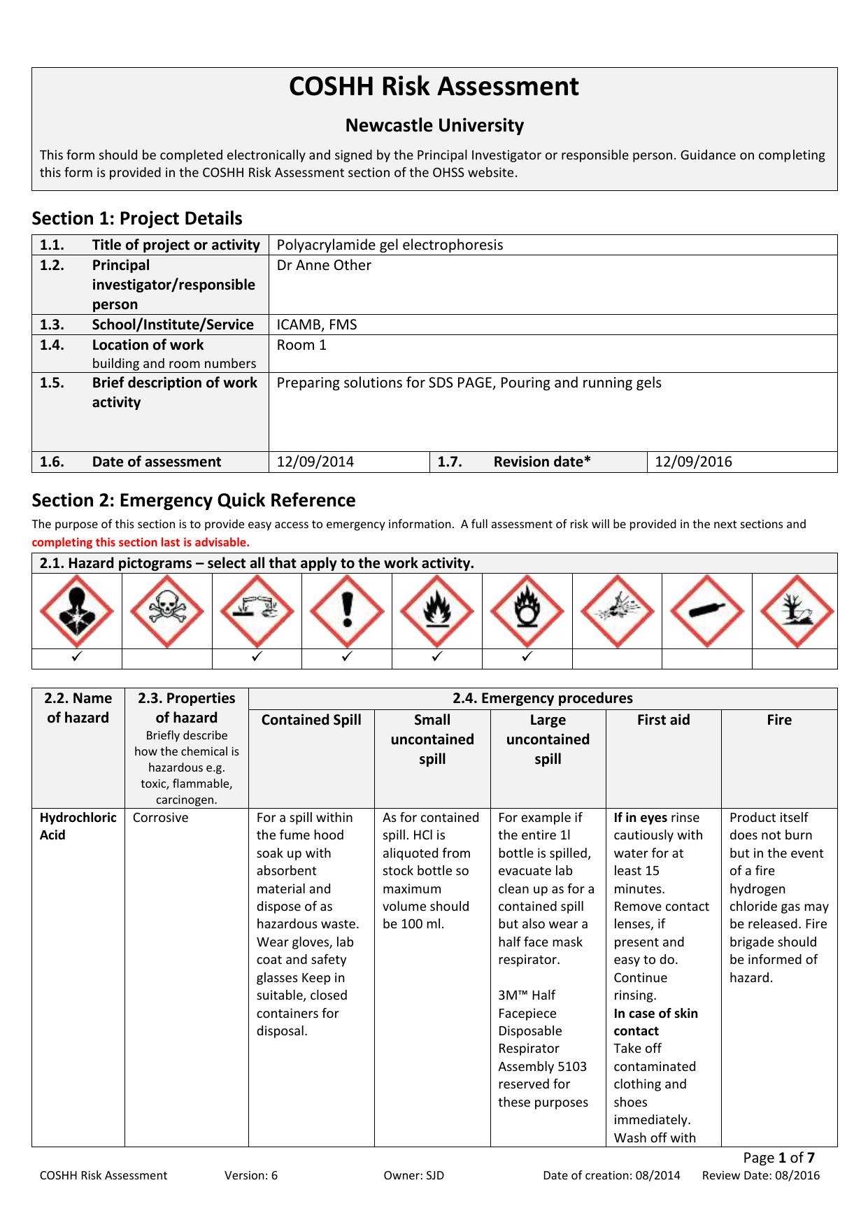 Coshh Risk Assessment