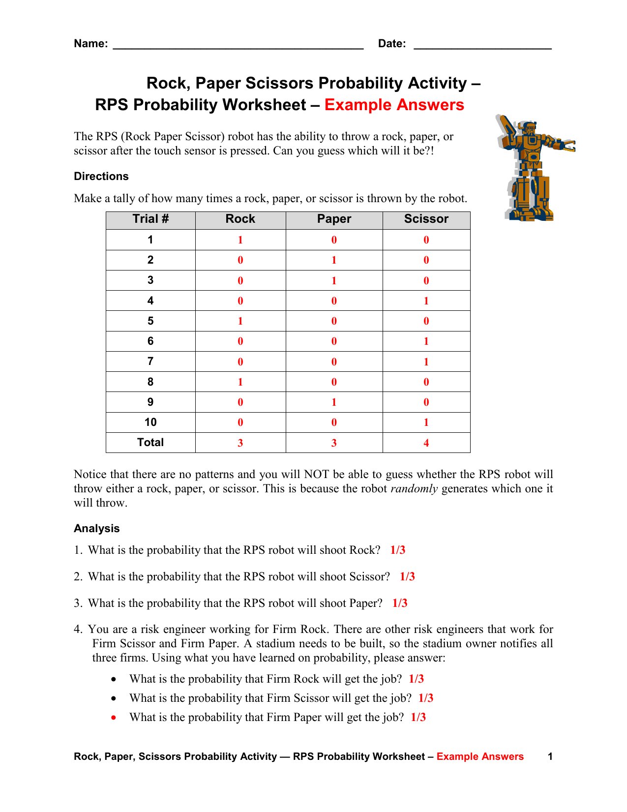 Rps Probability Worksheet Example Answers