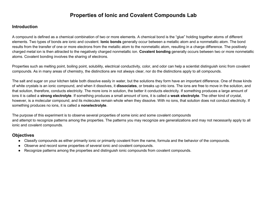 Ionic Or Covalent Lab Virtual Lab Ionic And Covalent Bonds Virtual Lab 02 17