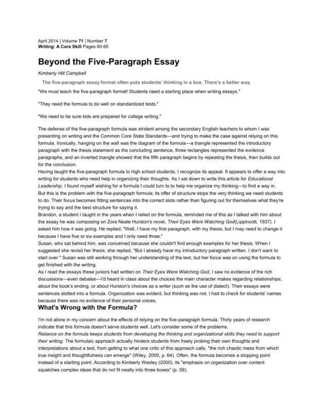 Beyond the 29 Paragraph Essay