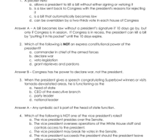 Quiz Questions For Presentation 8 Presidency