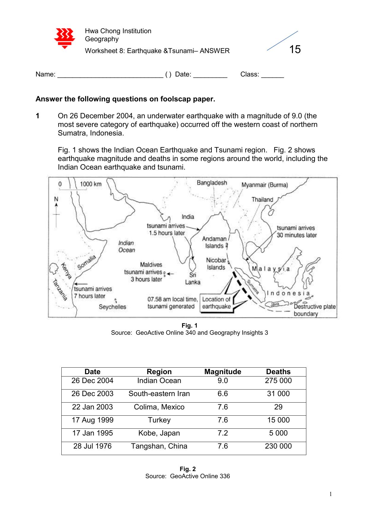 Worksheet 8 Answer Earthquake