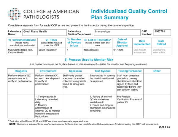 Individualized Quality Control Plan Summary