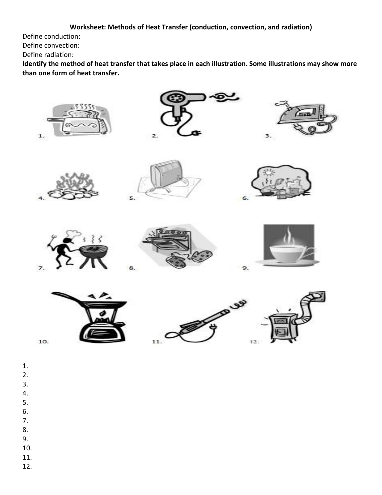 Printables Of Heat Transfer Worksheet 6th Grade