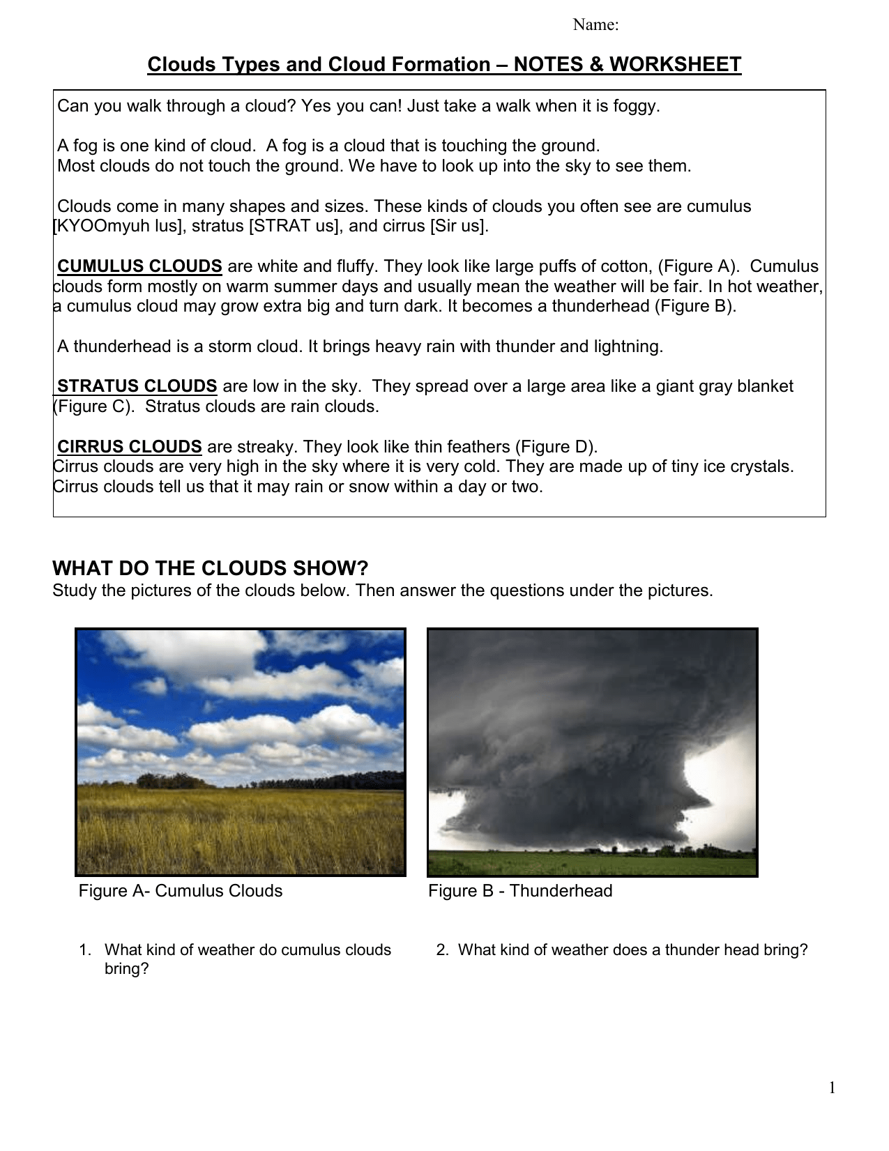 Clouds Types And Cloud Formation Notes Amp Worksheet
