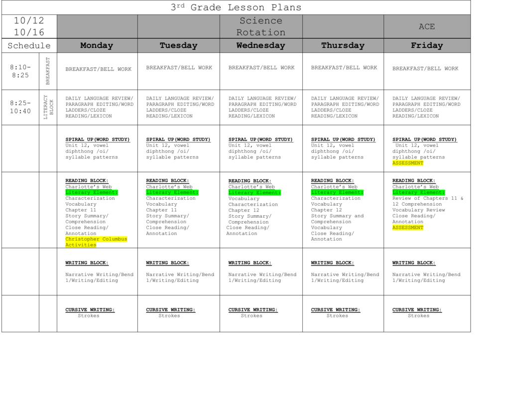 Third Grade Schedule