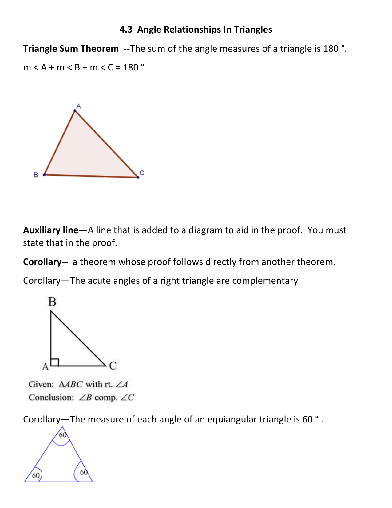 4 3 Angle Relationship In Triangles