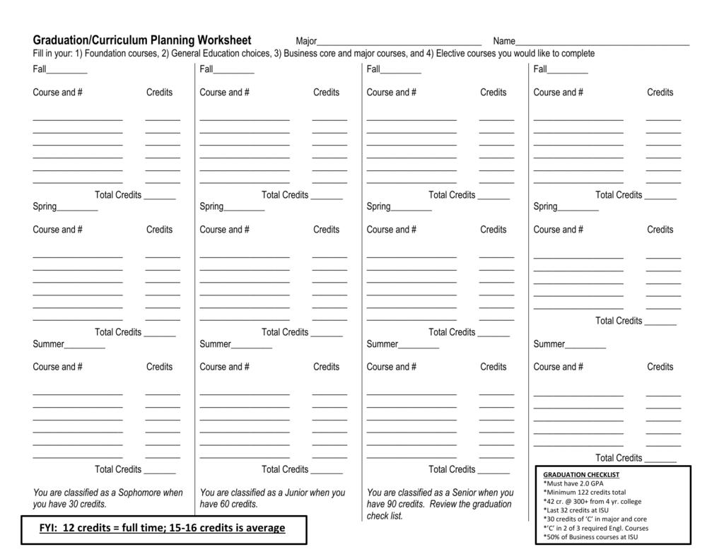 Graduation Curriculum Planning Worksheet