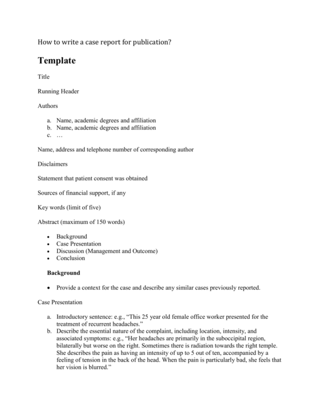 Clinical Case Report Writing Templates for Publication