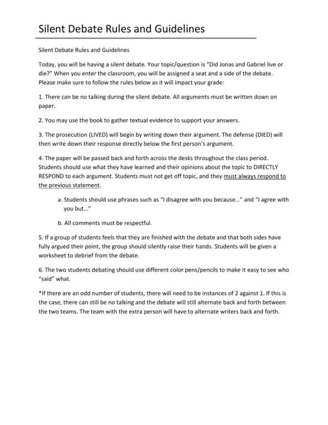 Silent Debate Rules and Guidelines
