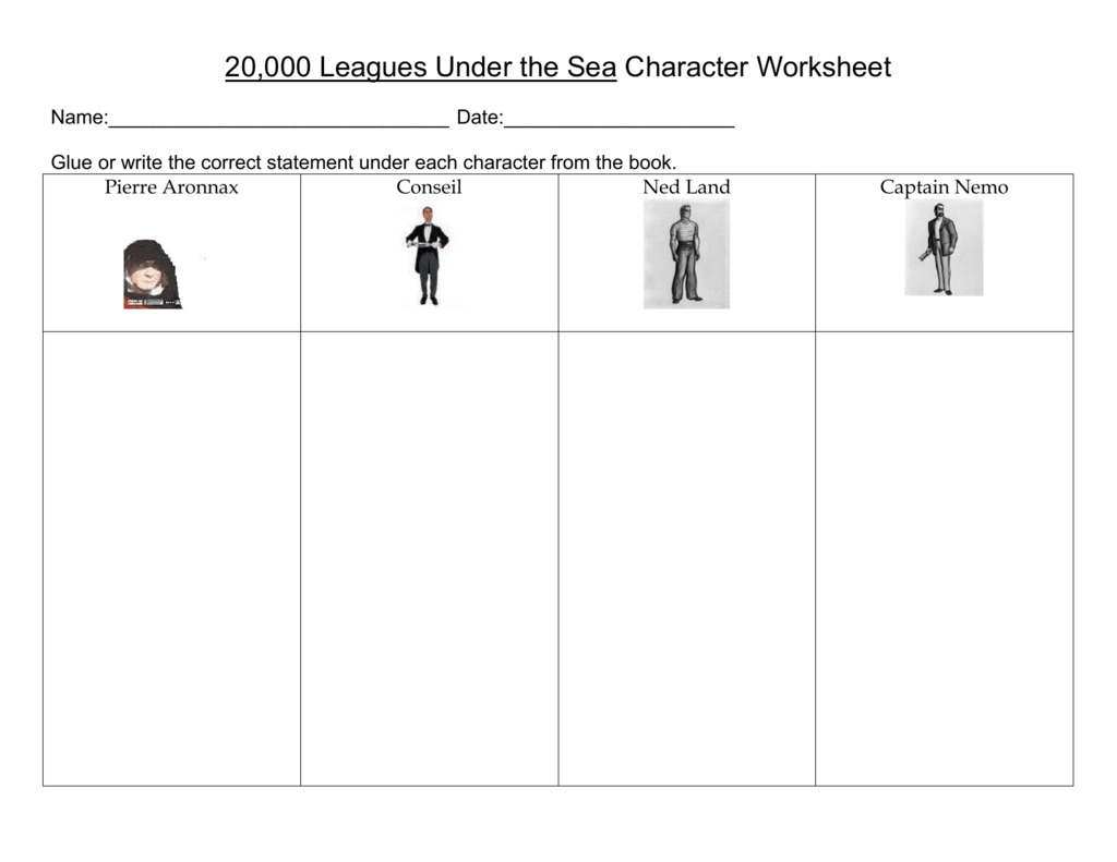 20 000 Leagues Under The Sea Character Worksheet