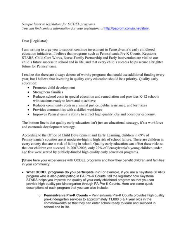 Sample letter to legislators