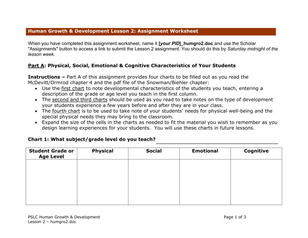Student Development Chart Physical Social Emotional