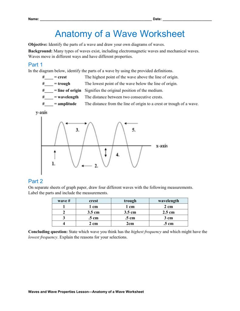 Anatomy Of A Wave Worksheet