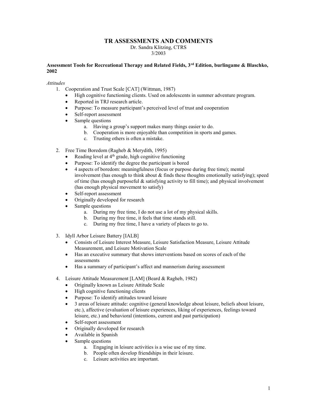 Tr Assessments And Comments