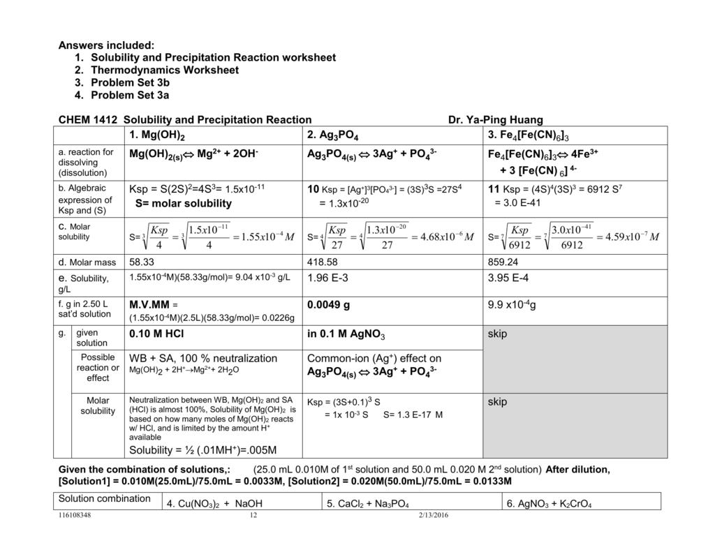Chem Solubility And Precipitation Rexn