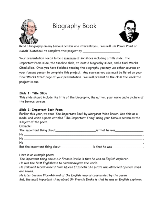 Biography Book Report Direction